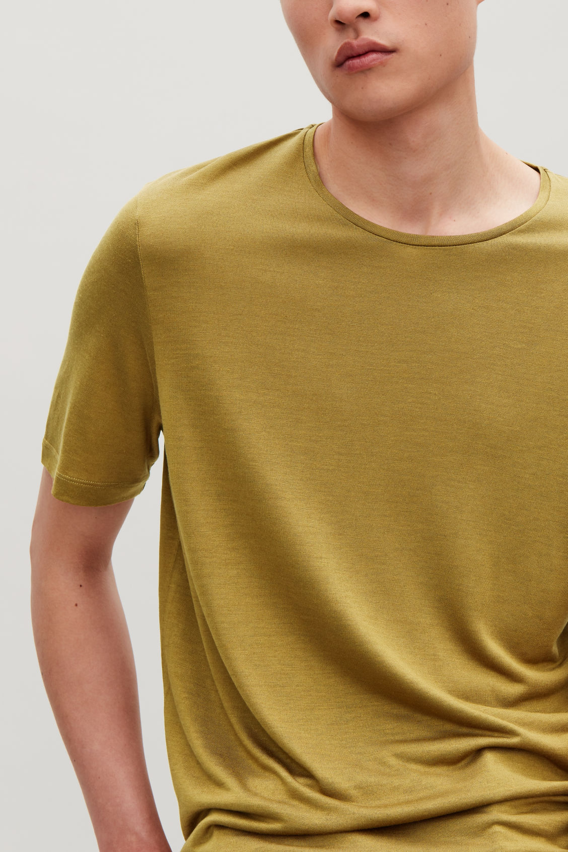 Model side image of Cos silk-linen round-neck t-shirt in yellow