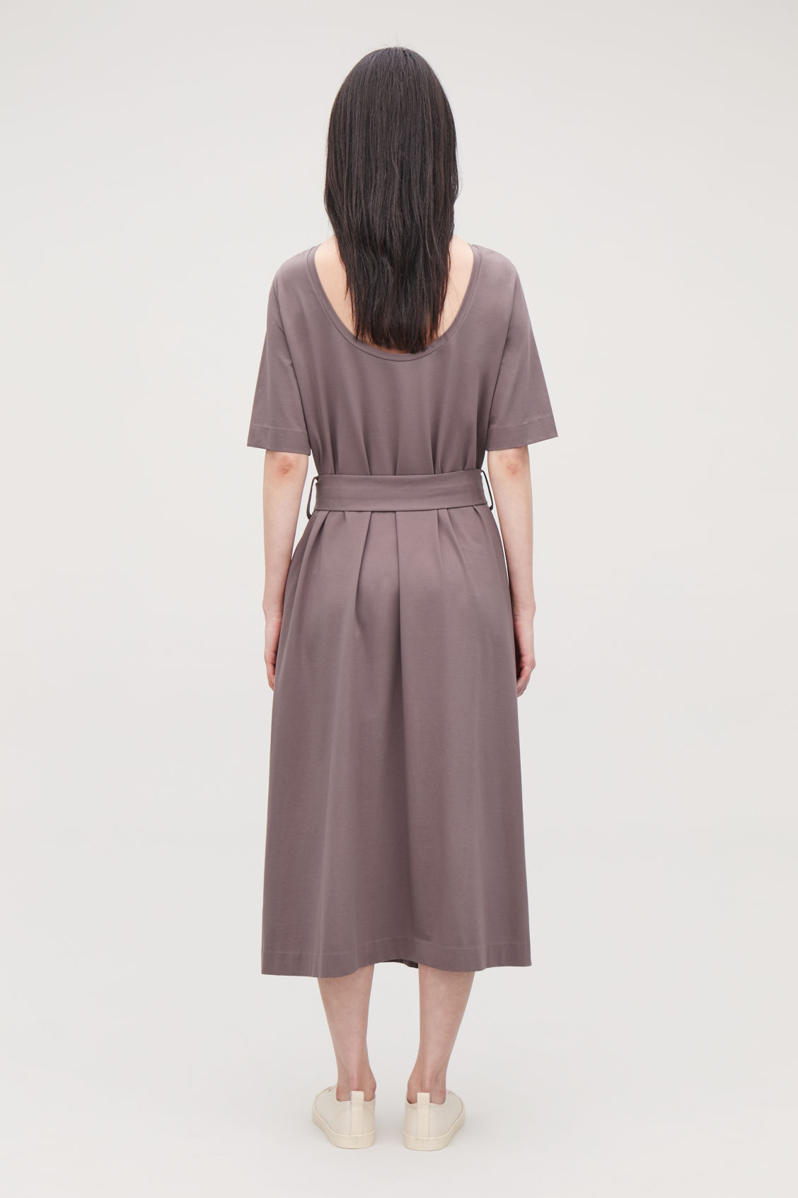 Model side image of Cos long a-line jersey dress in purple