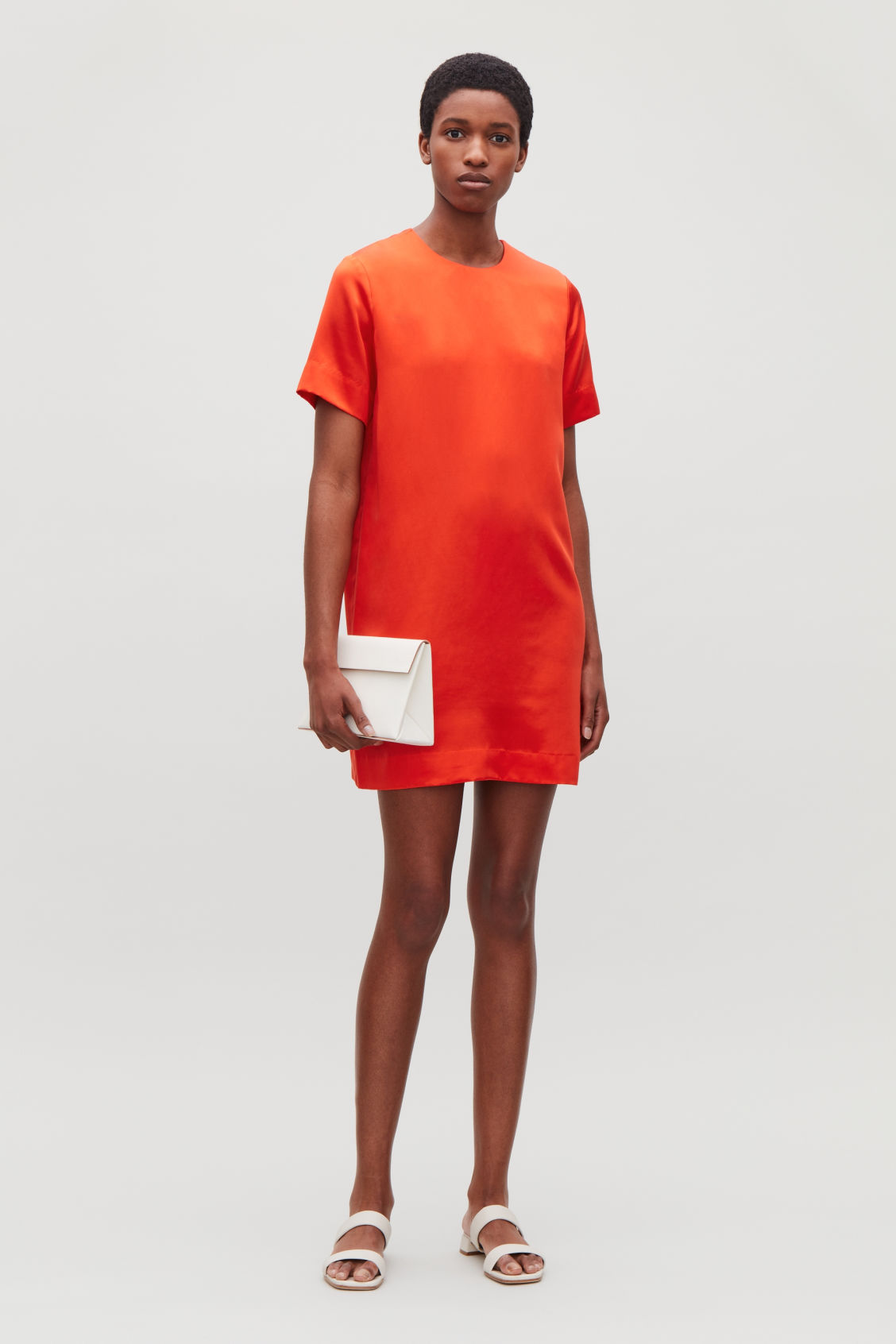 Model front image of Cos short silk-blend dress in orange