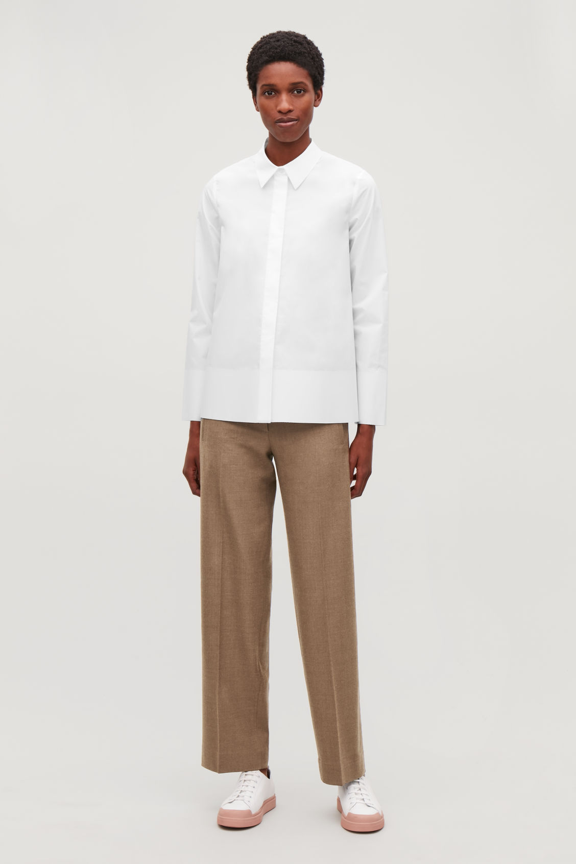 Model front image of Cos cotton-poplin a-line shirt in white