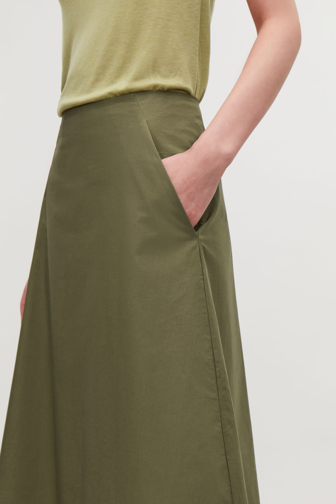 Model side image of Cos cotton-poplin a-line skirt in green