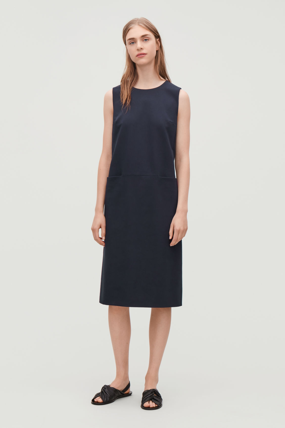 d50c22a0138b Model front image of Cos tailored a-line dress in blue