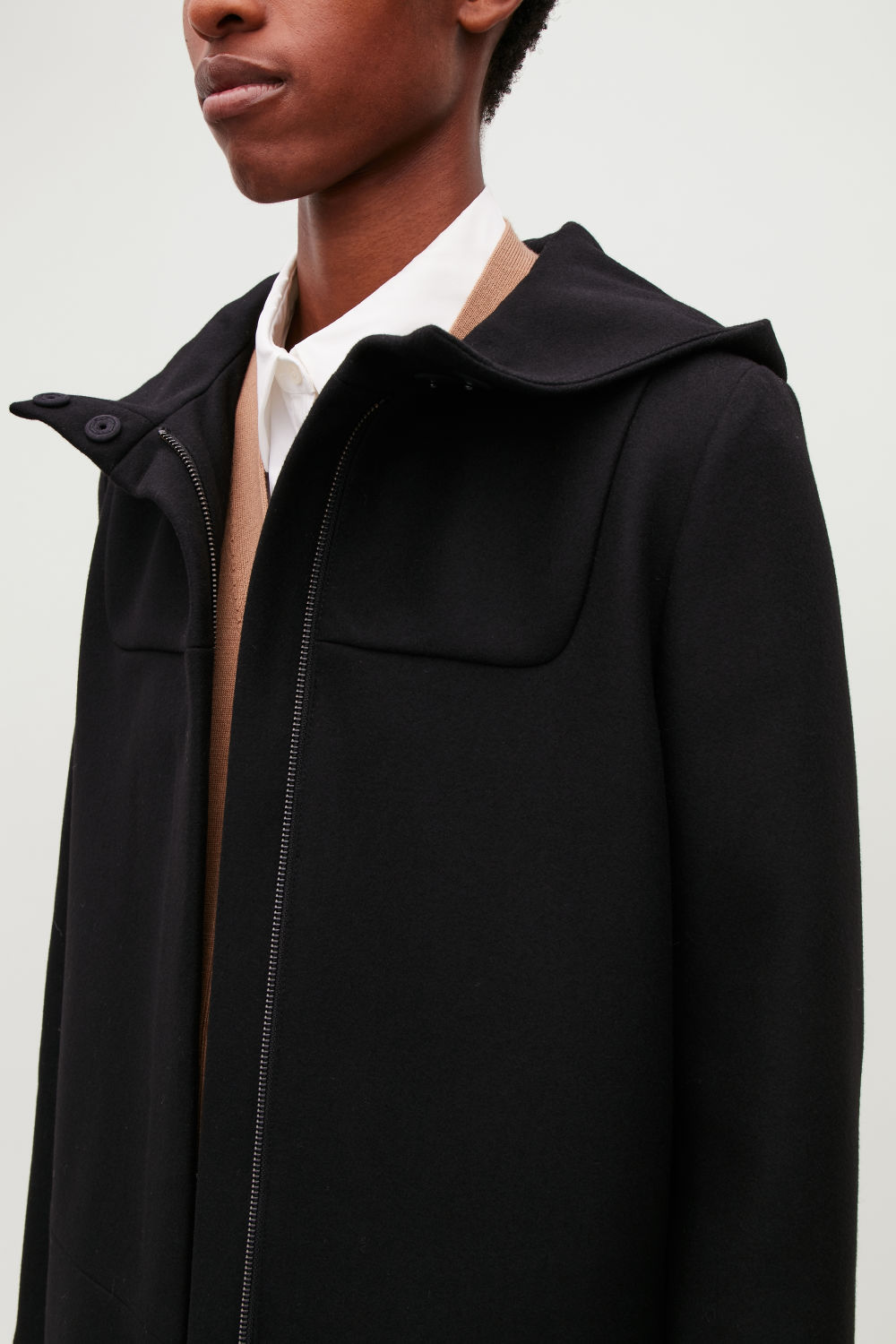 HOODED WOOL DUFFEL COAT