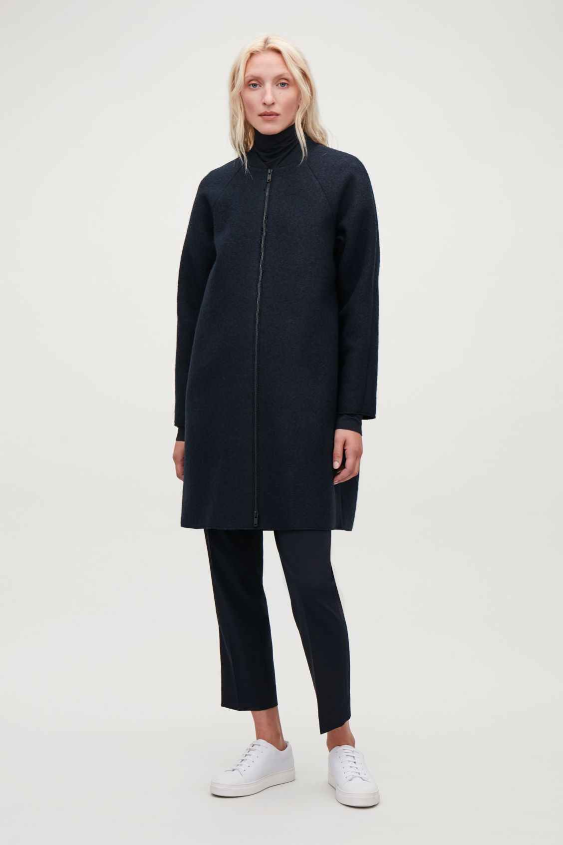 Model front image of Cos boiled-wool cocoon coat in blue