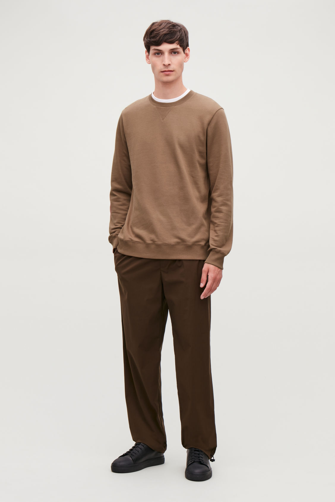Model front image of Cos brushed cotton sweatshirt in brown