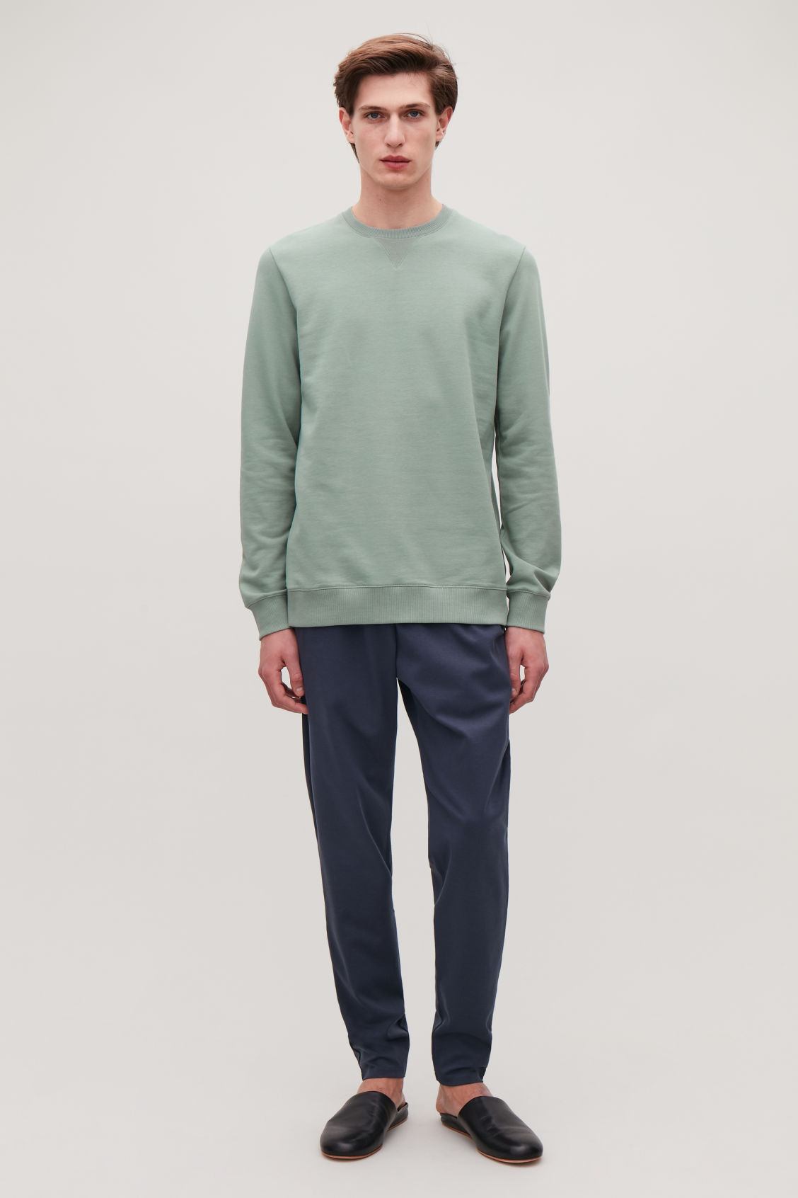 Model front image of Cos brushed cotton sweatshirt in green