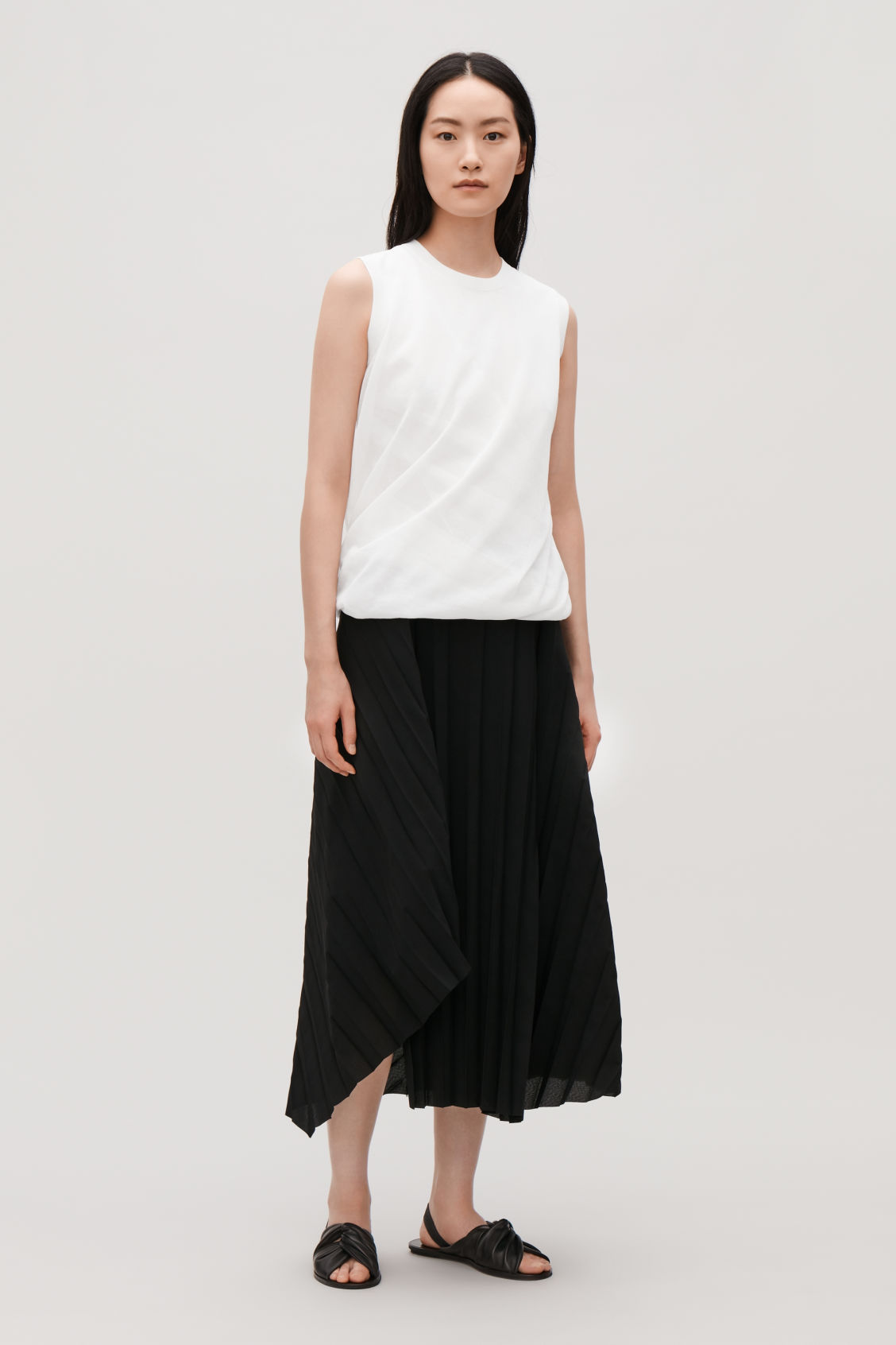 Model front image of Cos layered sheer knit-woven top in white
