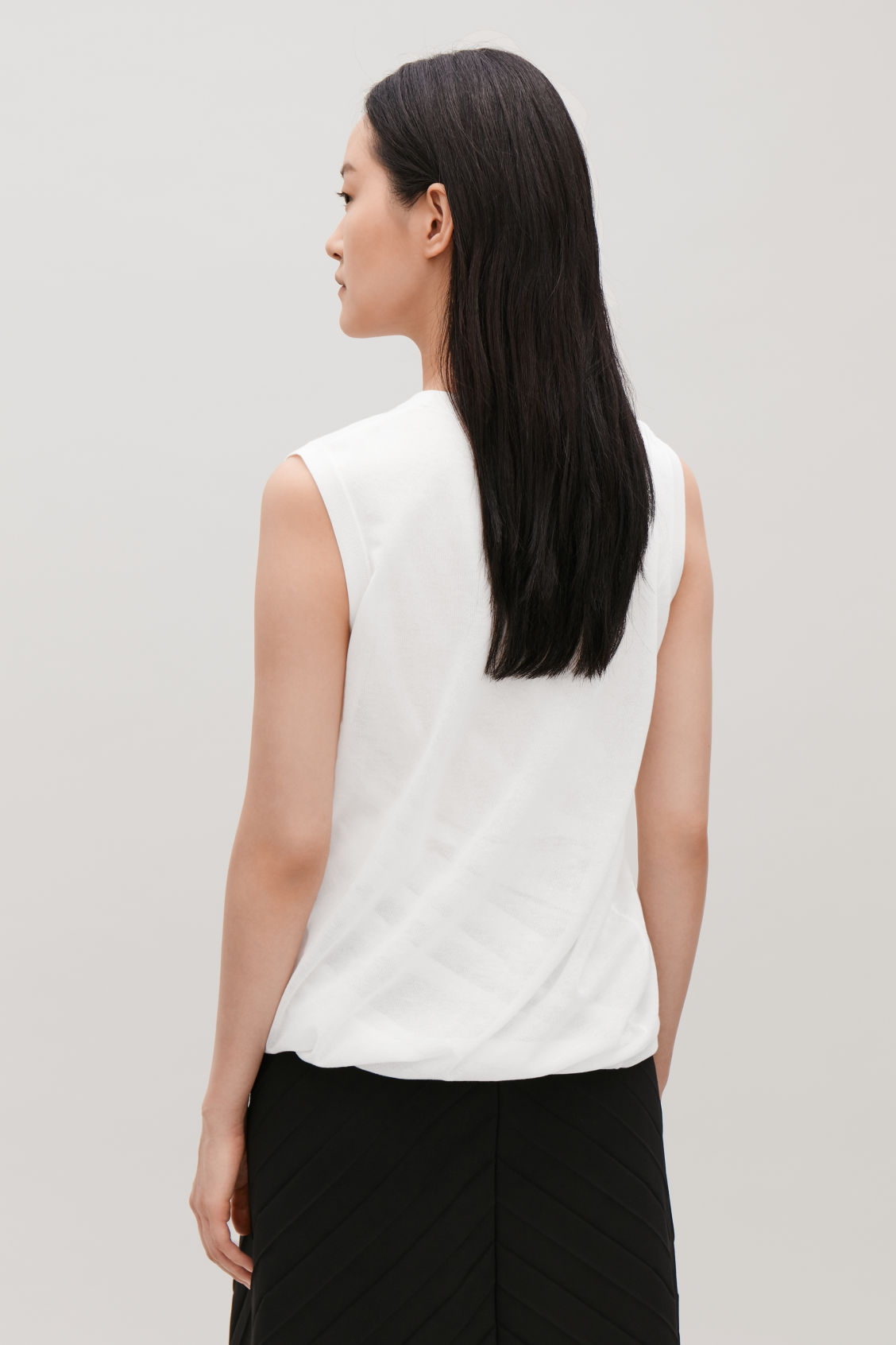 Model side image of Cos layered sheer knit-woven top in white