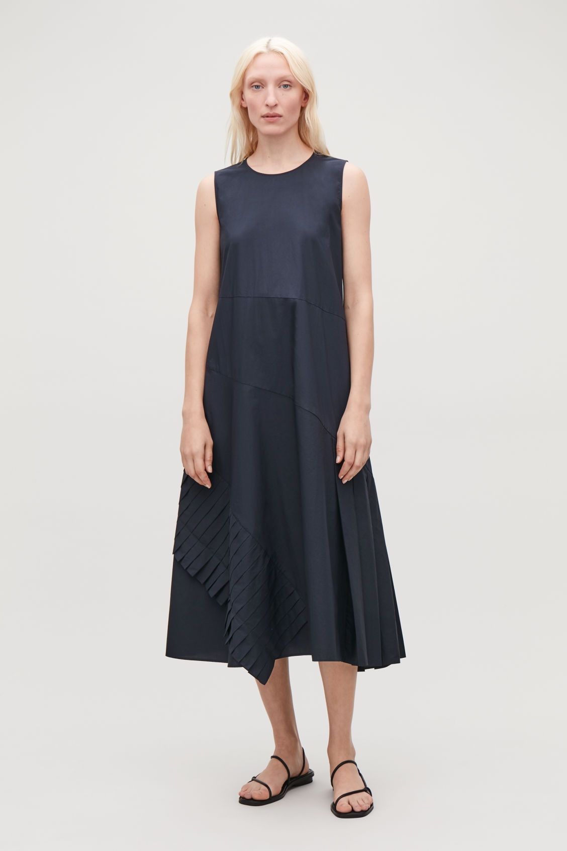 Model front image of Cos a-line dress with pleated drape in blue