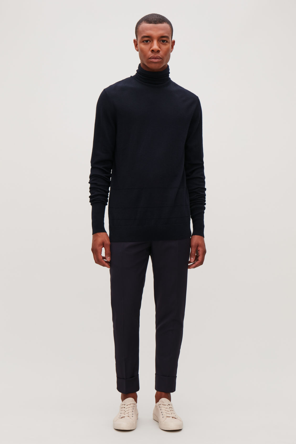 Model front image of Cos reverse-stitched wool jumper in blue