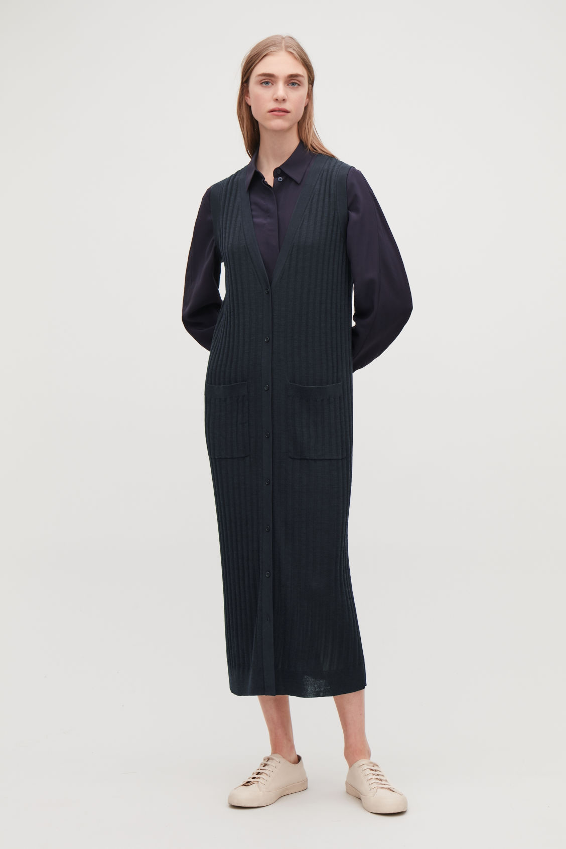 Model front image of Cos ribbed-knit wool dress in blue