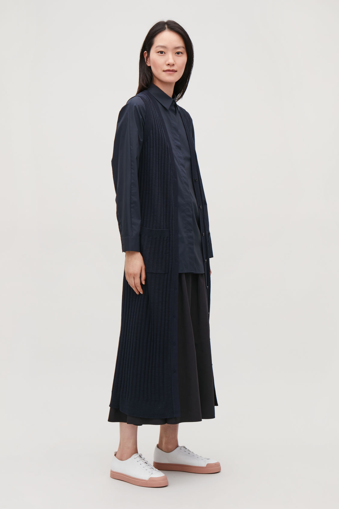 Model side image of Cos long ribbed-knit wool cardigan in blue