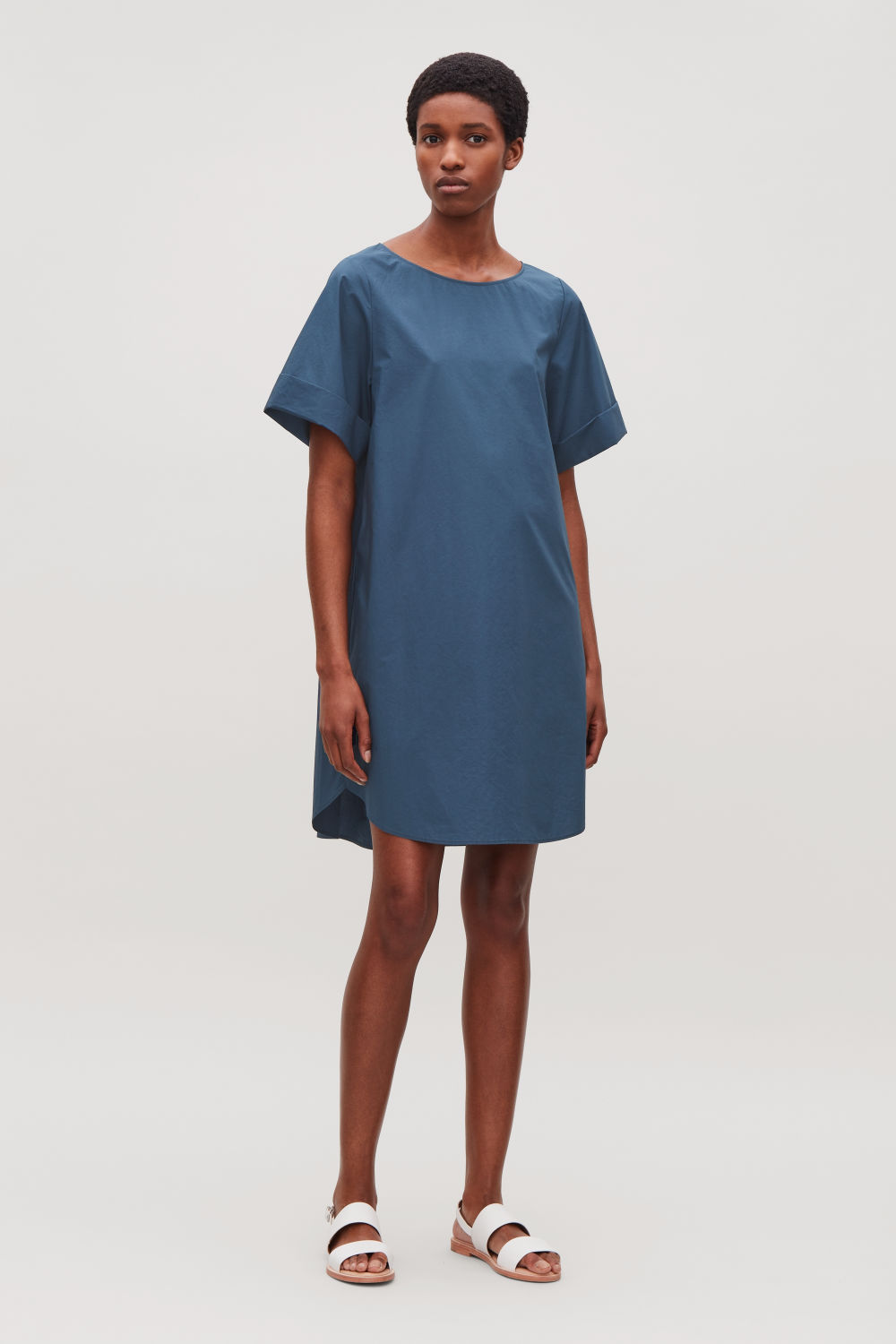 ¾-SLEEVED A-LINE DRESS