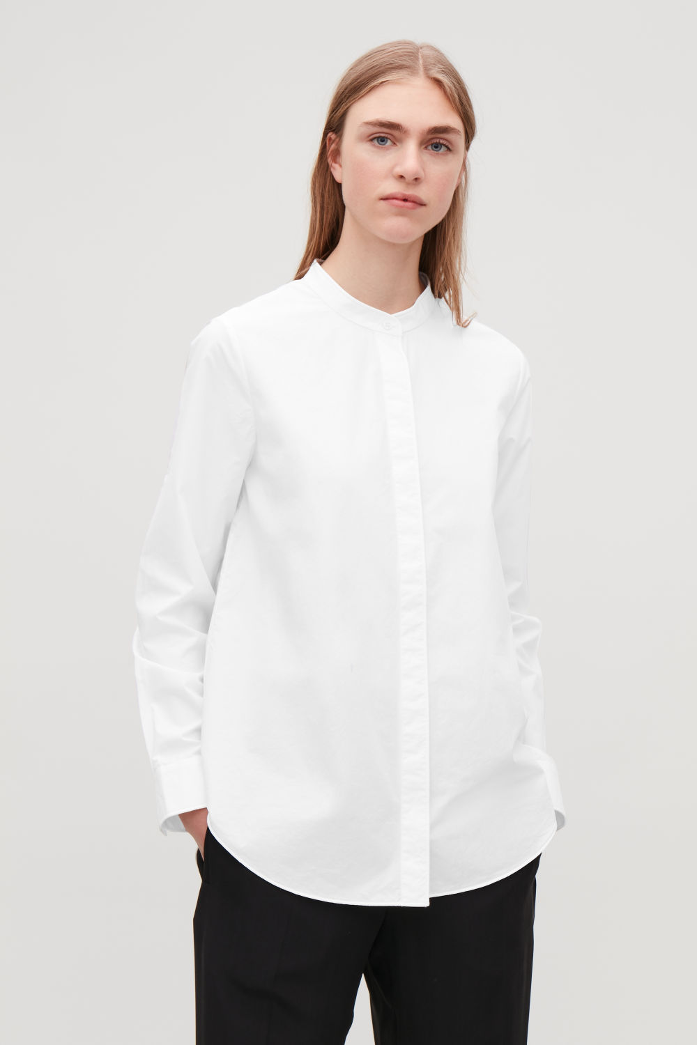 GRANDAD-COLLARED COTTON SHIRT