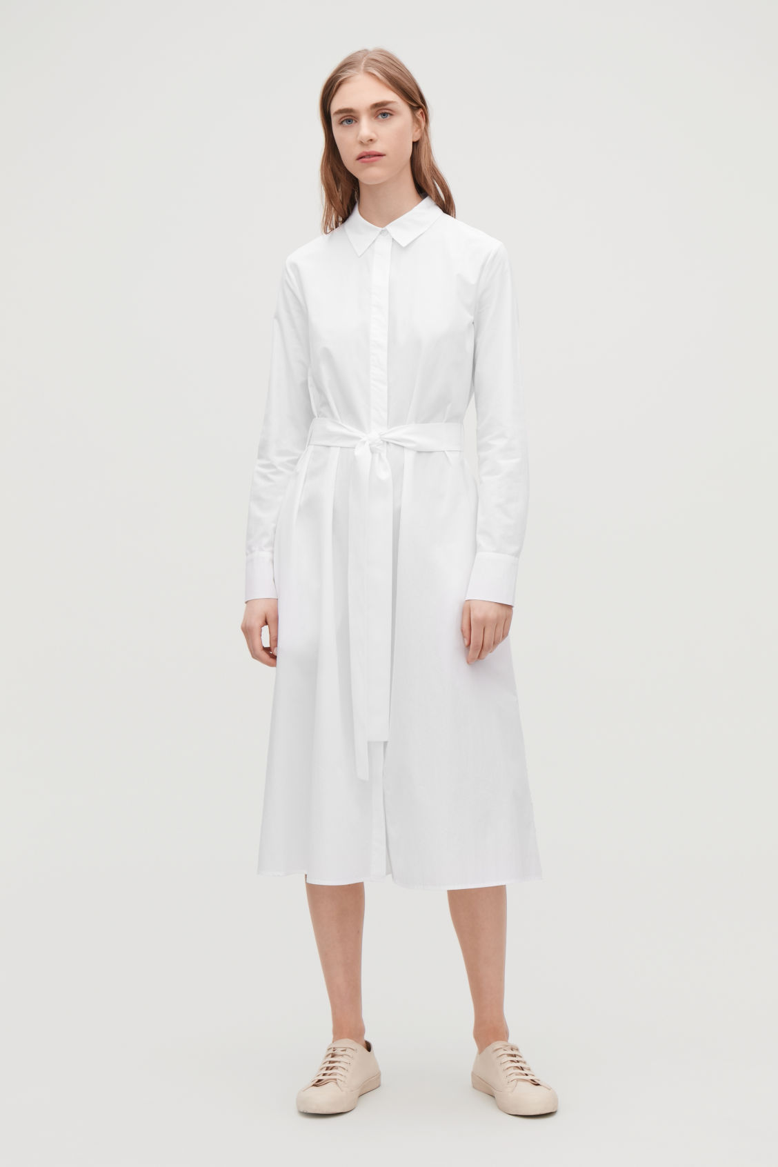 Model front image of Cos pleated-back shirt dress in white