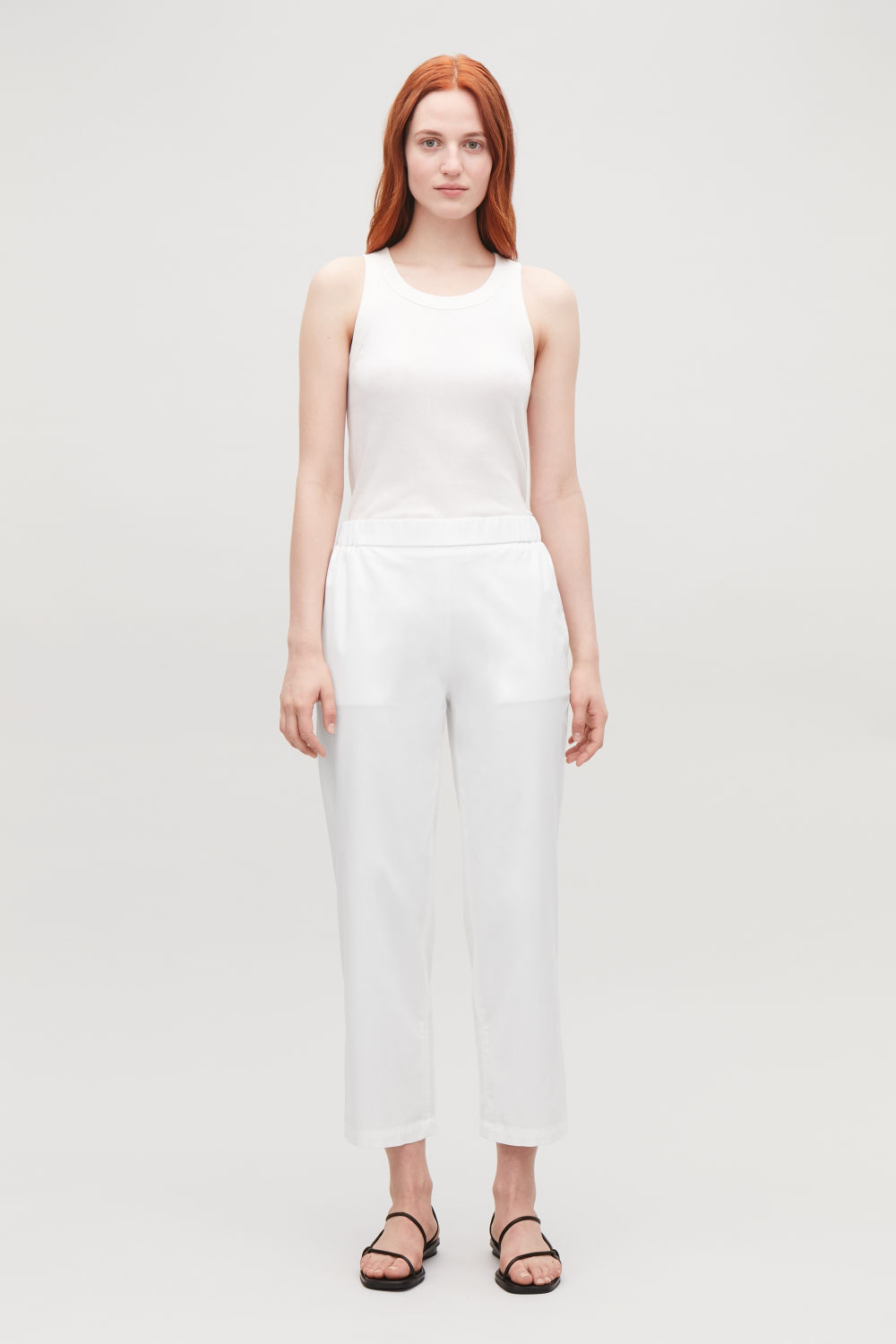 CROPPED COTTON POPLIN TROUSERS
