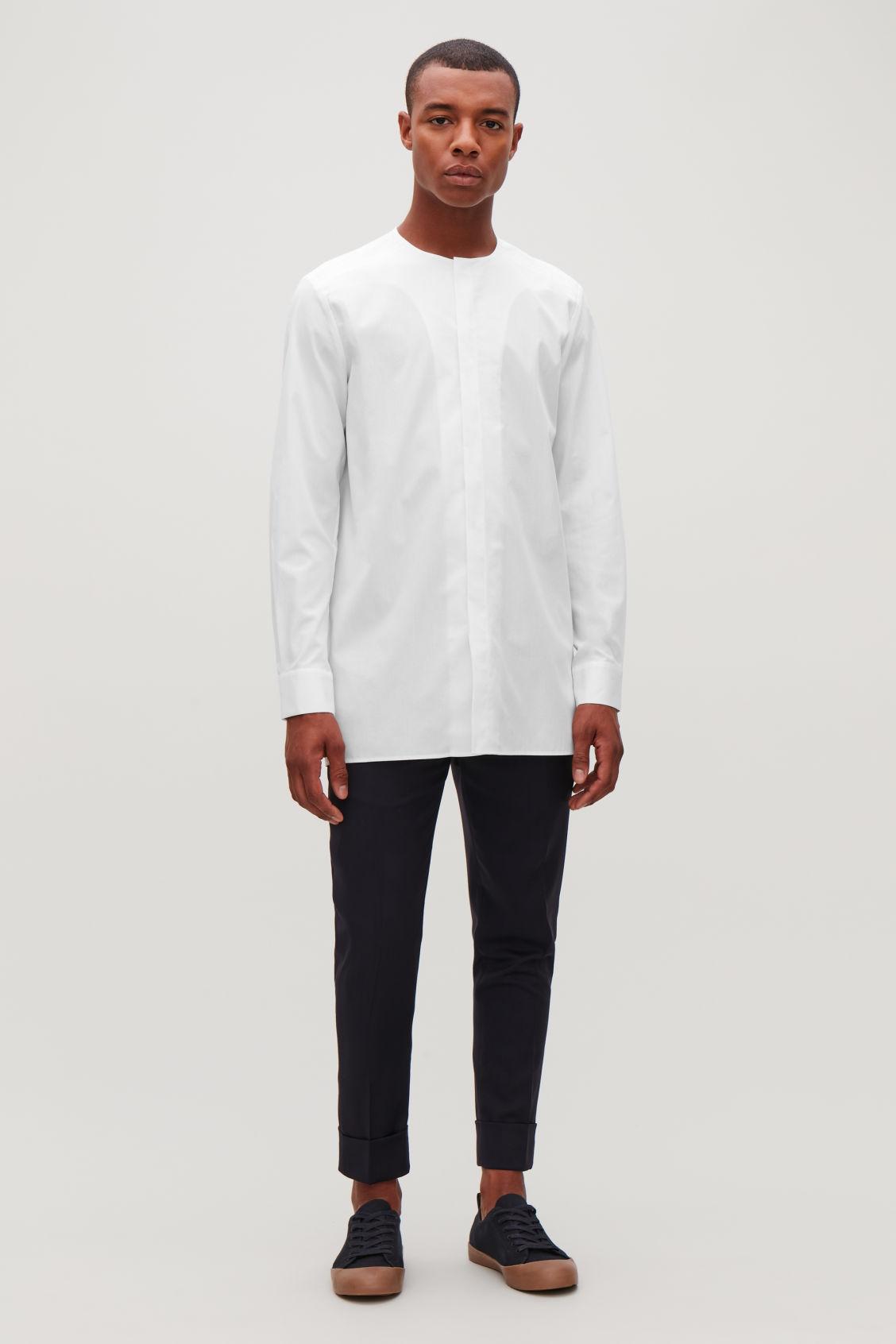 Collarless Long Sleeved Shirt White Shirts Cos