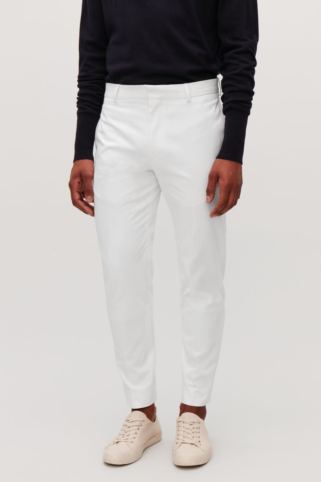 Model side image of Cos slim-fit cotton twill chinos  in white