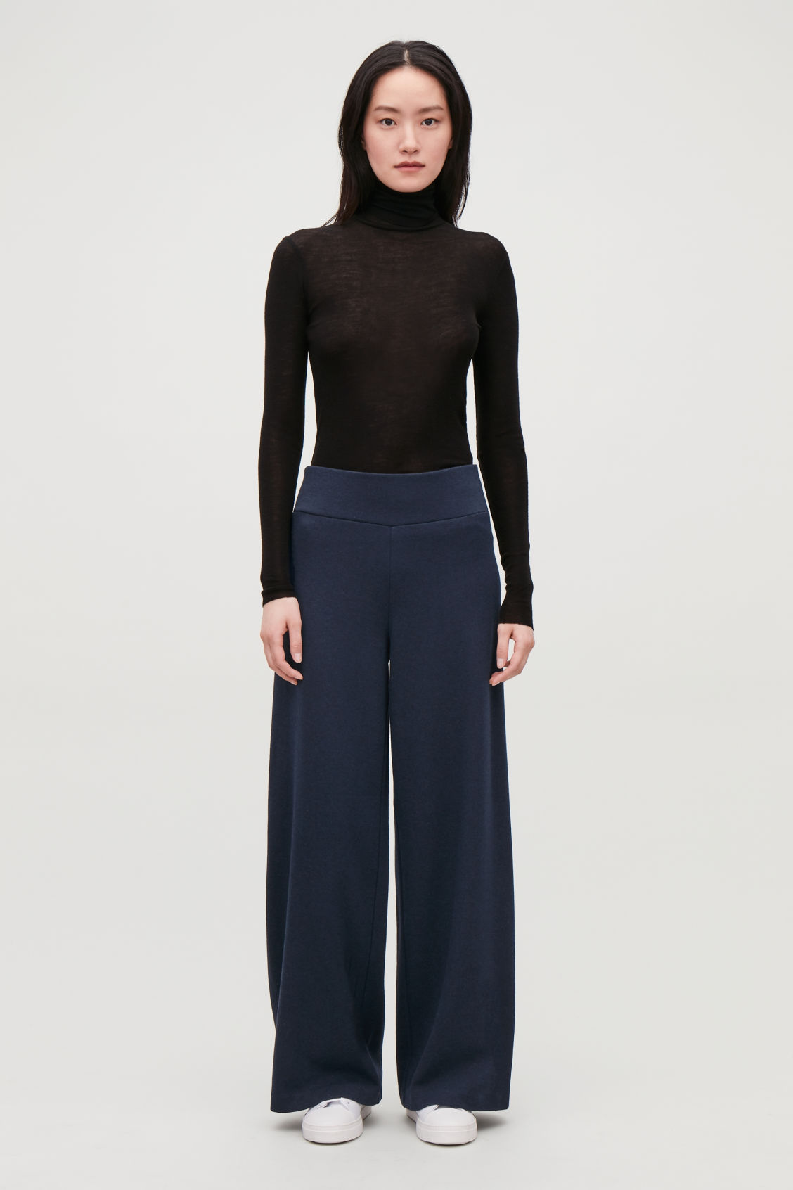 Model front image of Cos cotton-wool high-waist trousers in blue