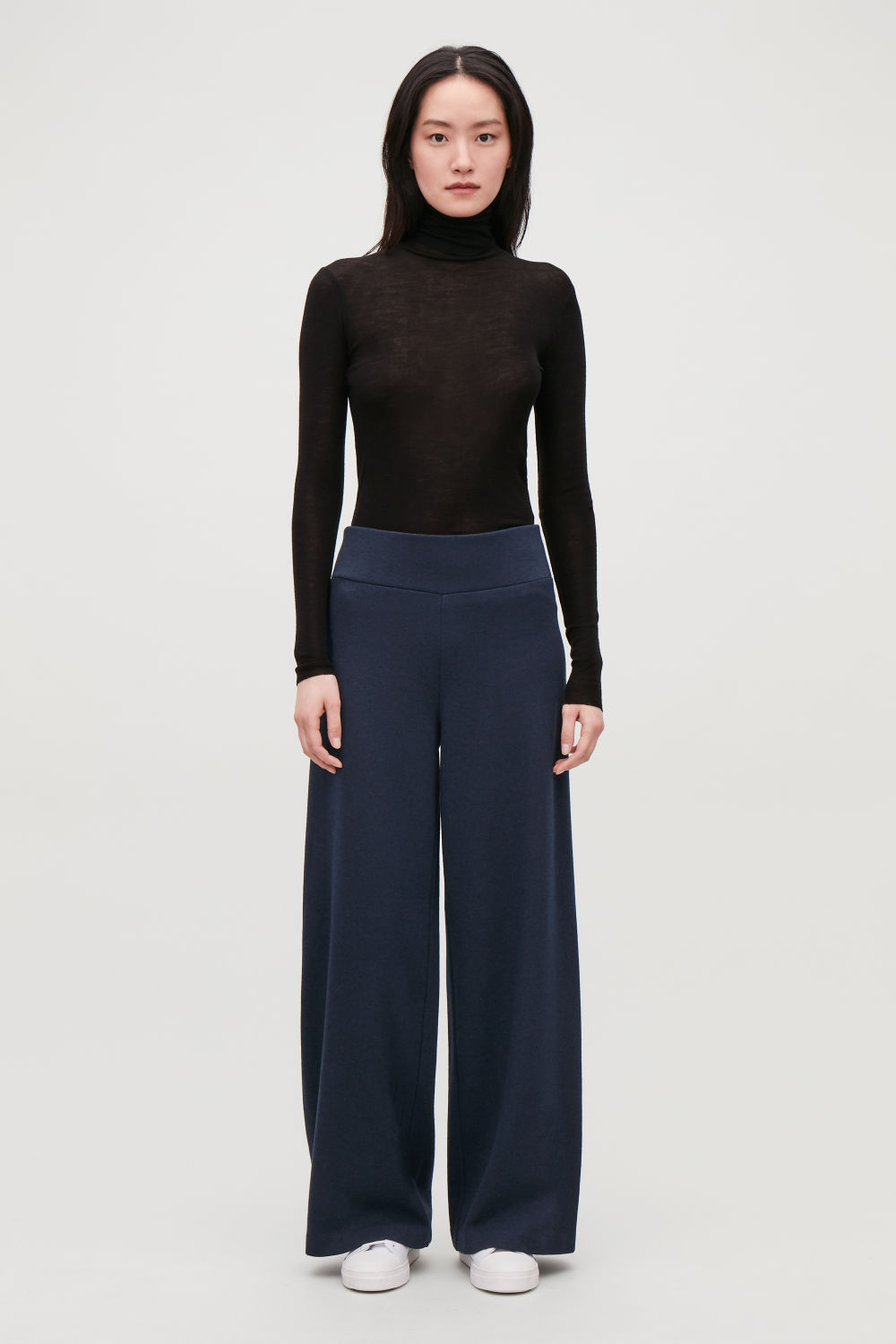 COTTON-WOOL HIGH-WAIST TROUSERS