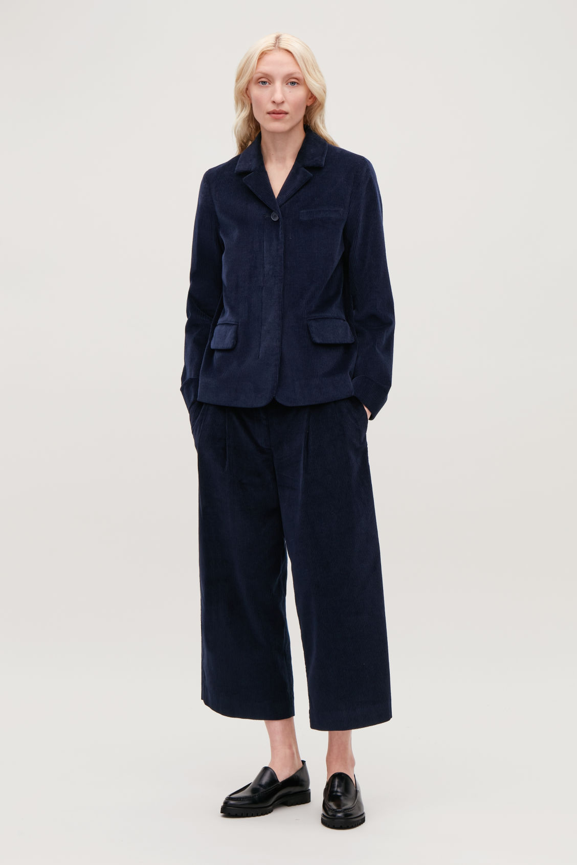 Model front image of Cos workwear corduroy blazer in blue