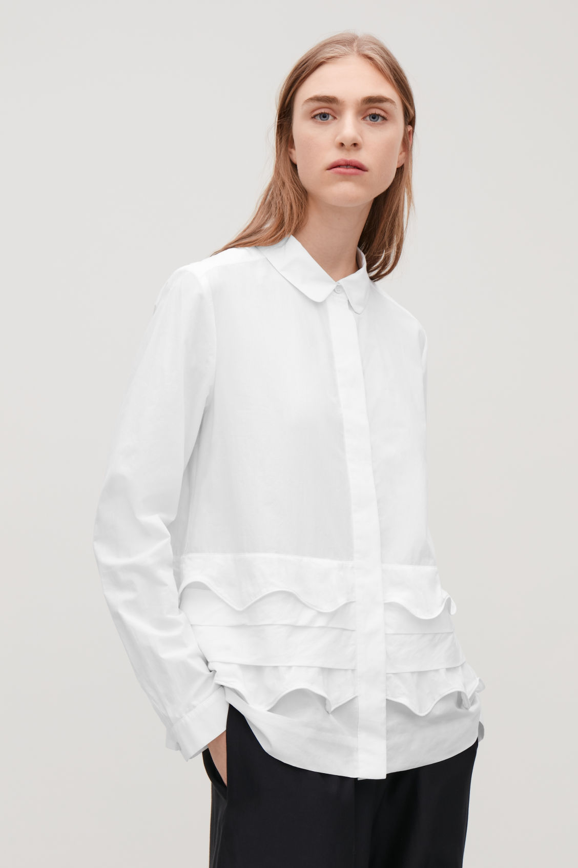 Model side image of Cos scallop-trim layered shirt in white