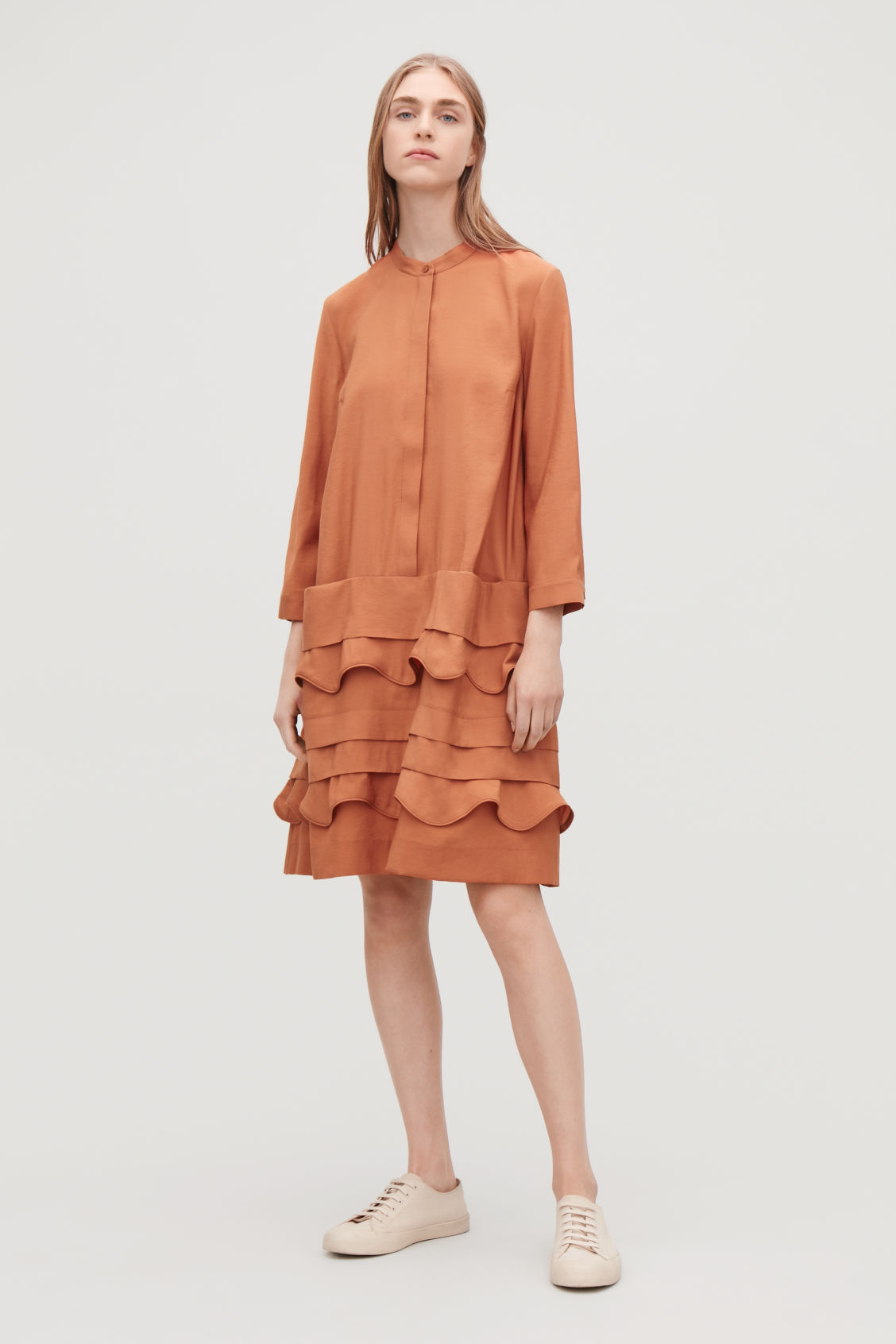 Model front image of Cos scallop-trim layered dress in orange