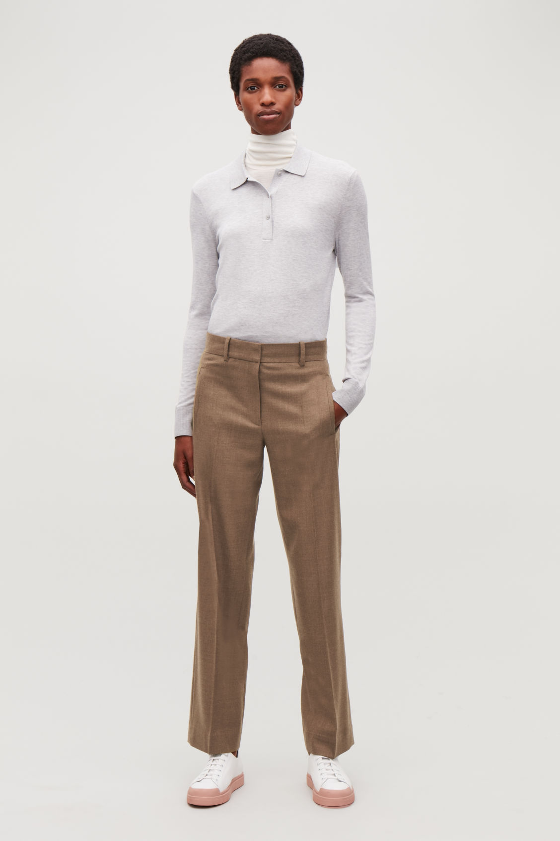 Model front image of Cos wool straight-leg trousers in brown
