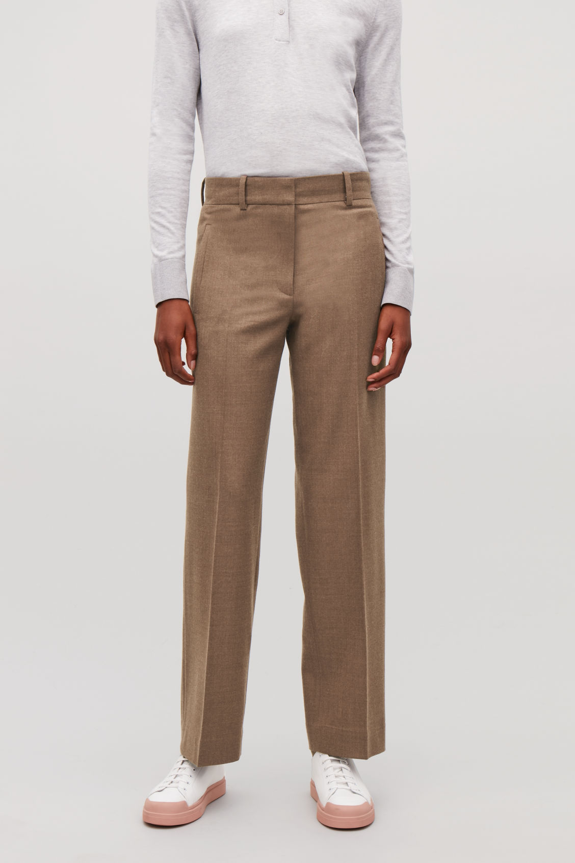 Model side image of Cos wool straight-leg trousers in brown