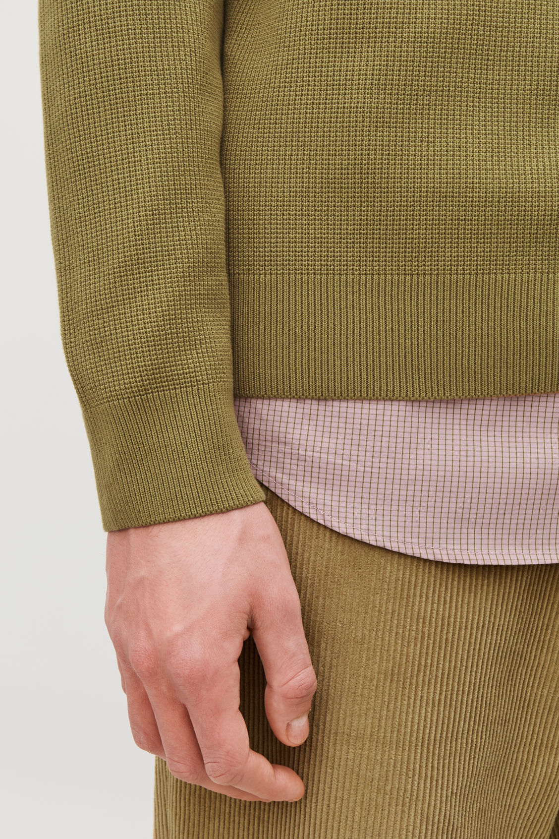 Model side image of Cos moss-stitch knit jumper in yellow