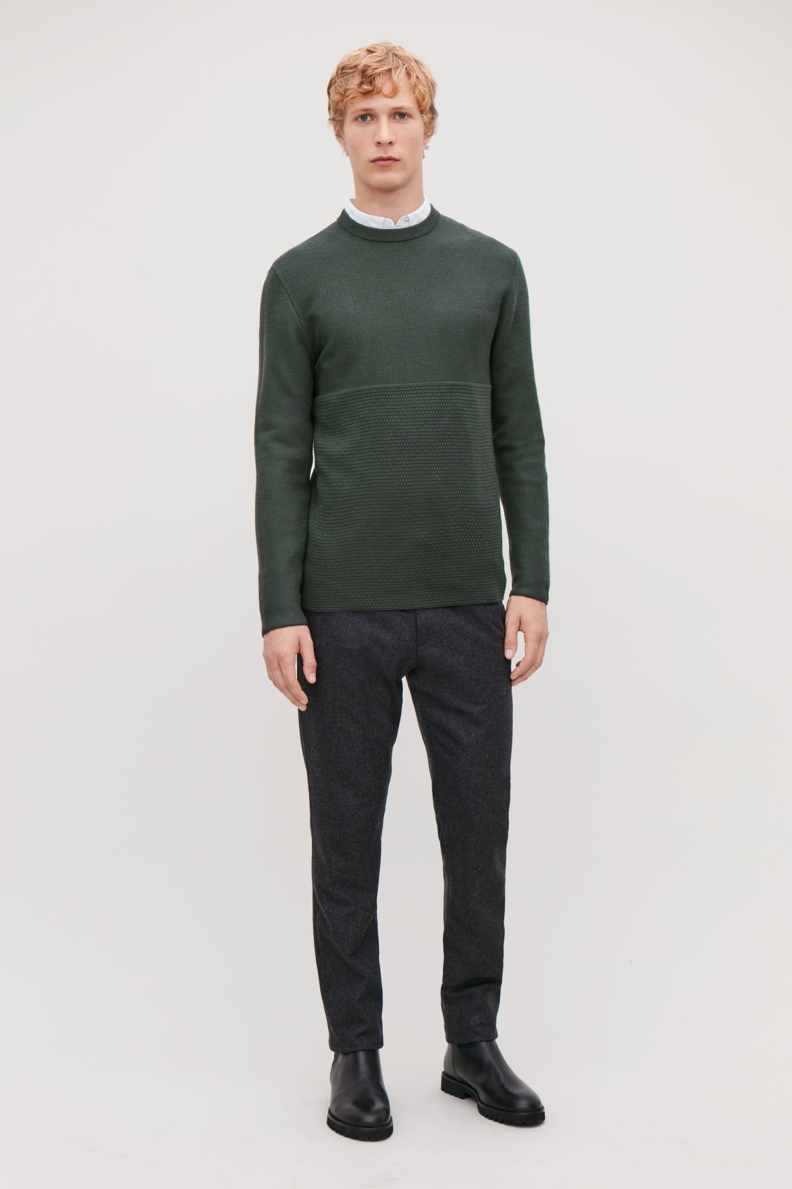 Model front image of Cos jacquard-knit merino jumper in green