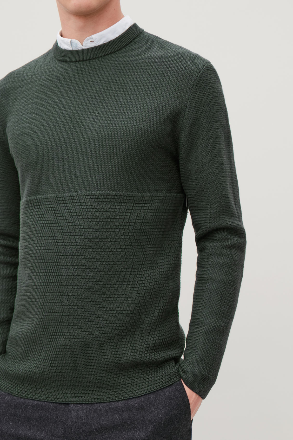 Model side image of Cos jacquard-knit merino jumper in green