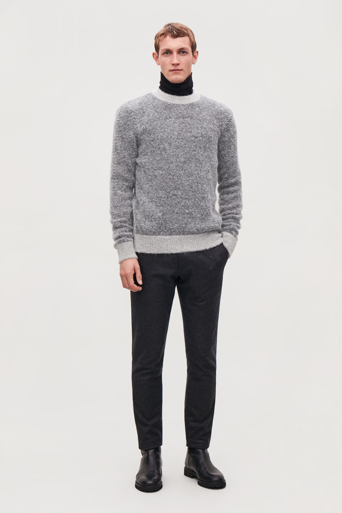 Model front image of Cos chunky-knit round-neck jumper in grey