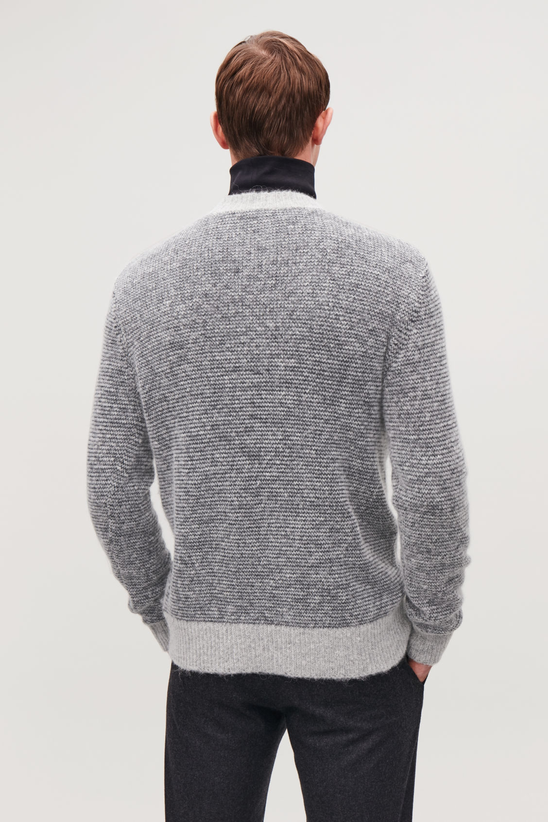 Model side image of Cos chunky-knit round-neck jumper in grey