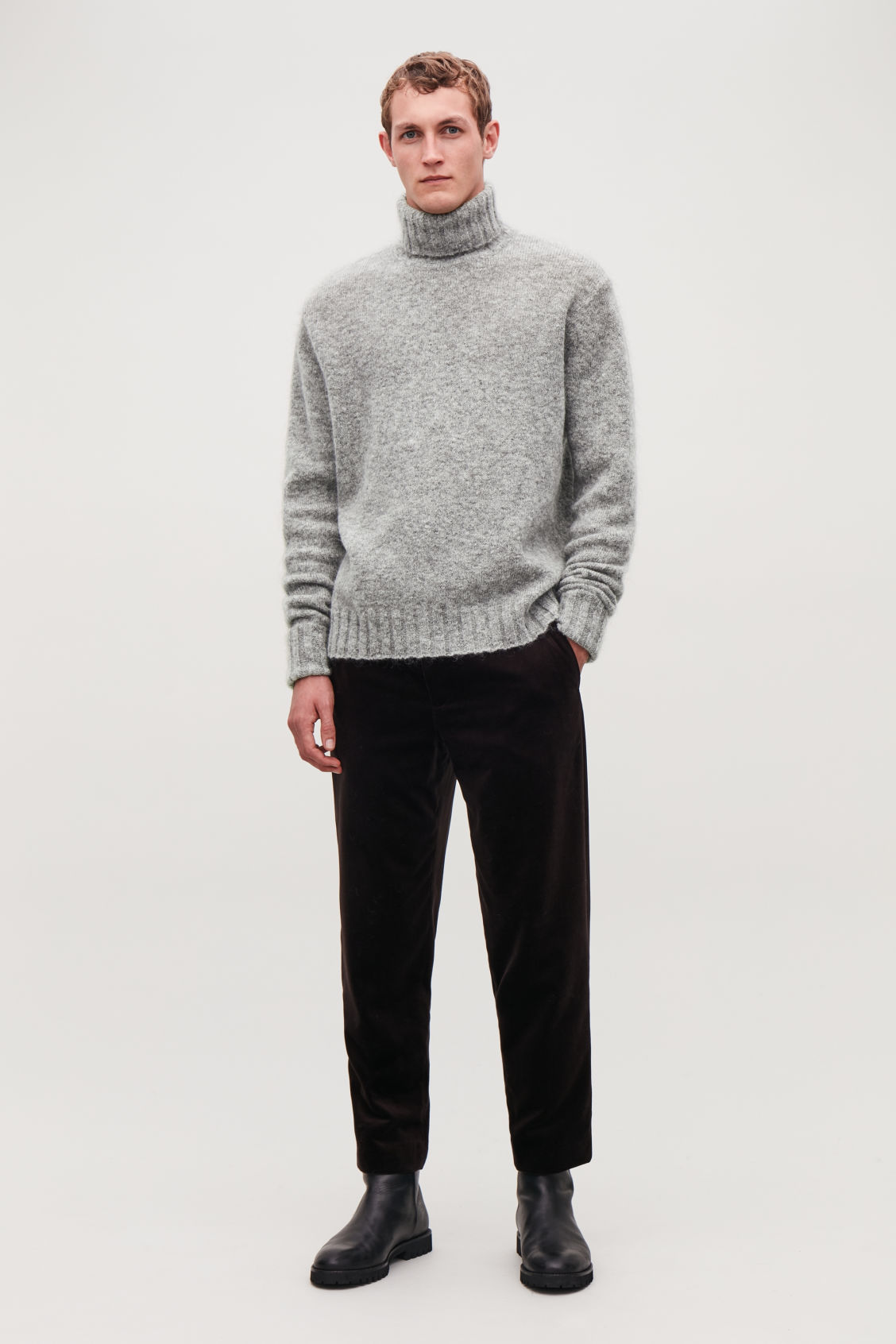 Model front image of Cos chunky roll-neck jumper in grey