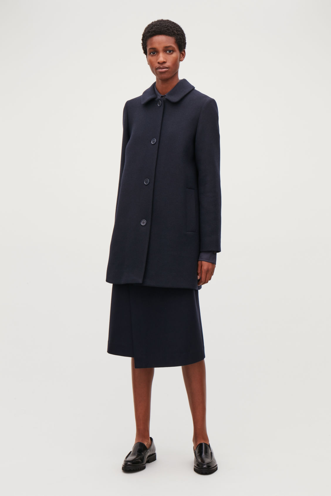 Model front image of Cos straight wool coat in blue