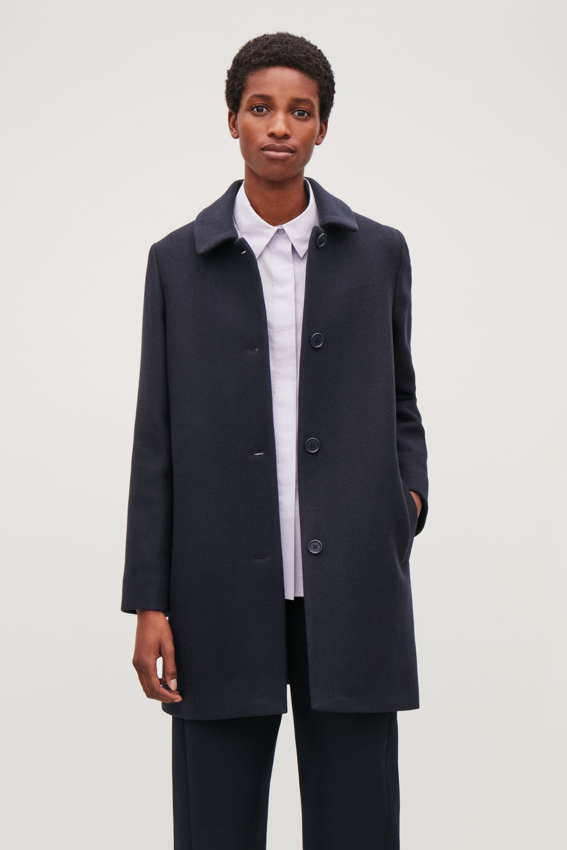 Model side image of Cos straight wool coat in blue