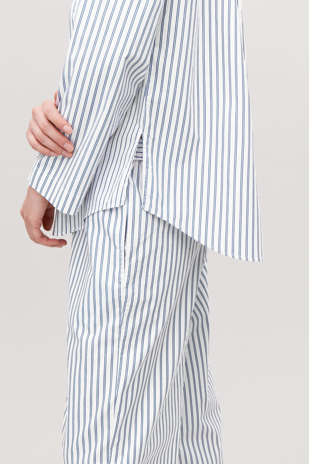 COLLARLESS STRIPED PYJAMA SHIRT