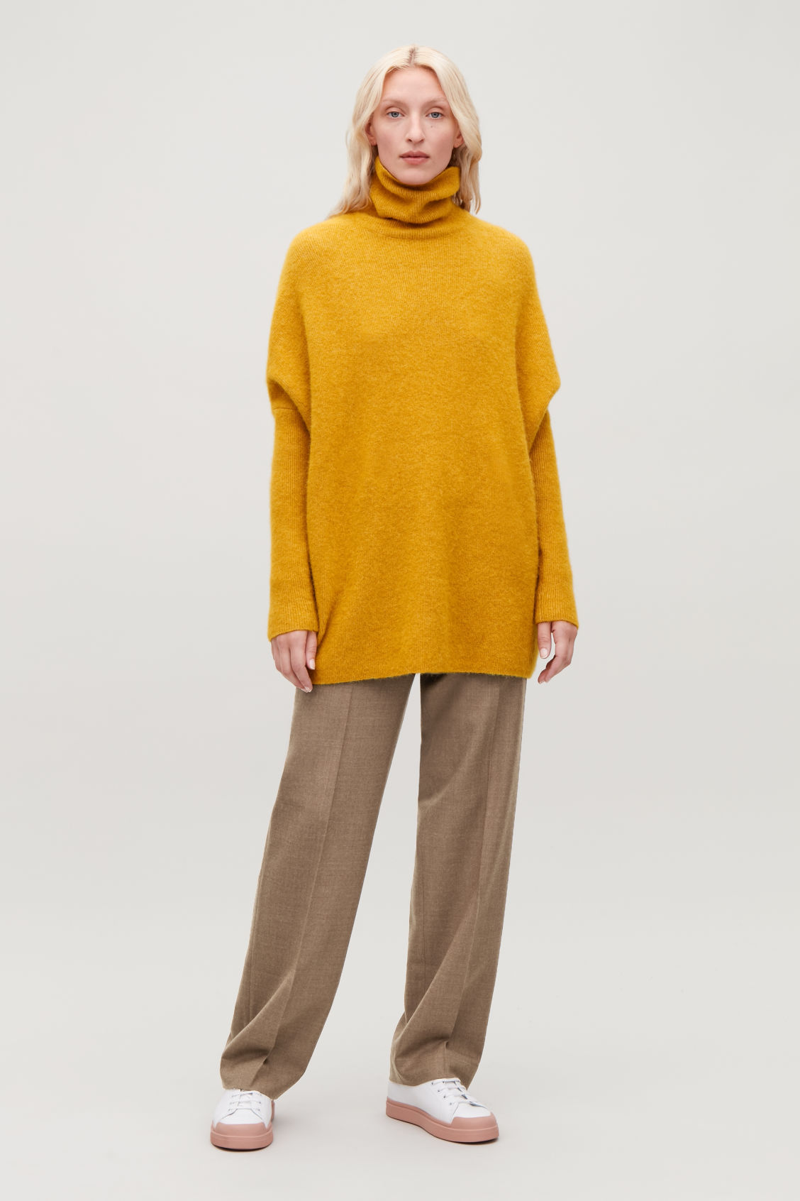 Model front image of Cos alpaca-blend tunic jumper in yellow