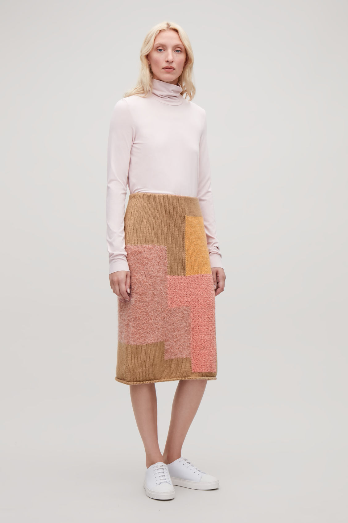 Model front image of Cos patchwork wool pencil skirt in beige