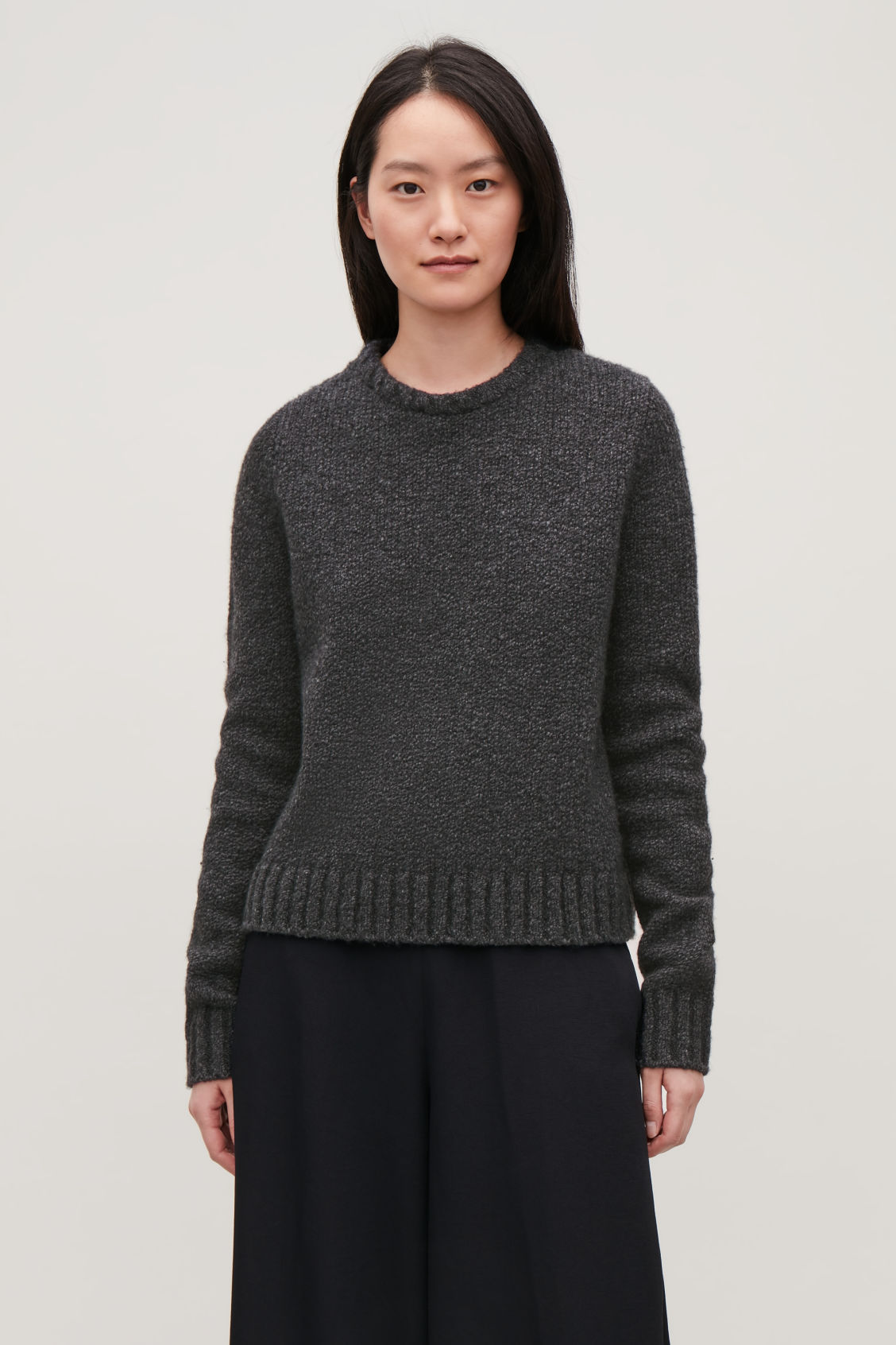 Model side image of Cos removable-collar wool jumper in grey