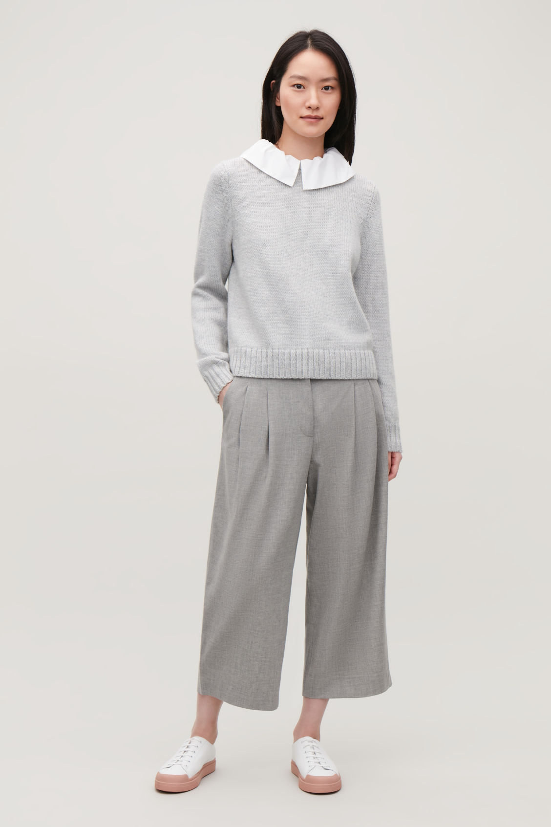 Model front image of Cos removable-collar wool jumper in grey