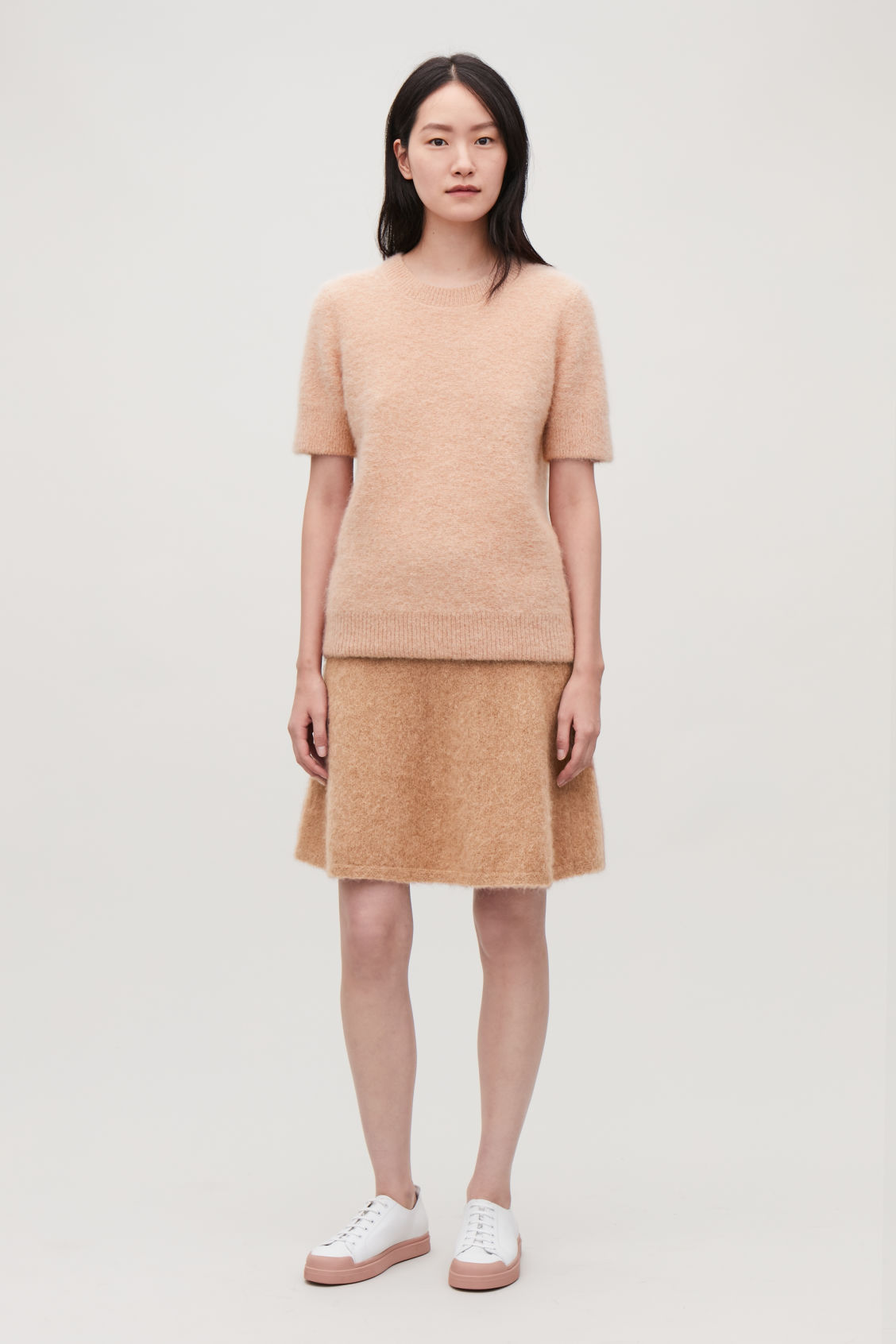 Model front image of Cos textured knitted t-shirt in beige
