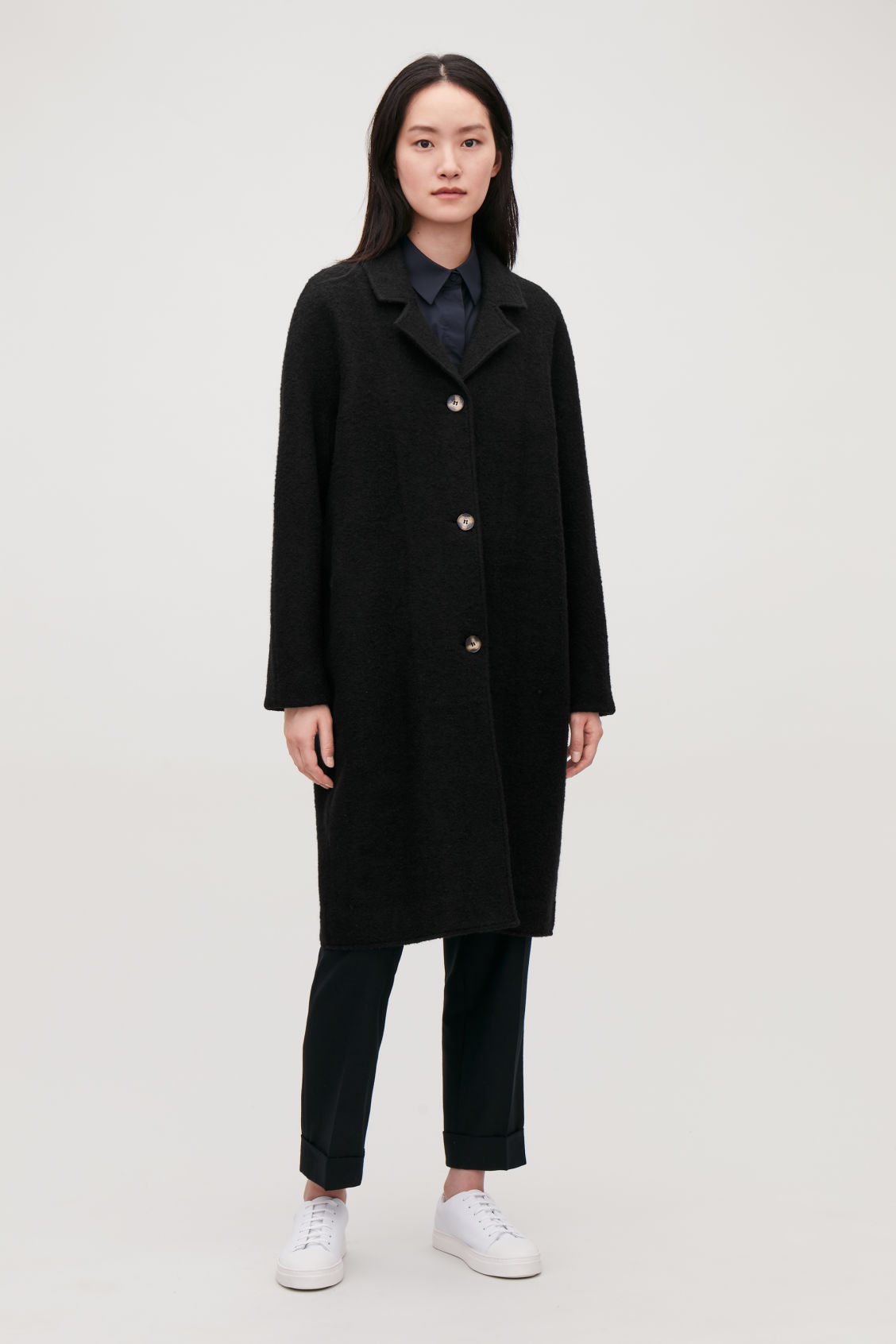 Model front image of Cos single-breasted jersey car coat in black