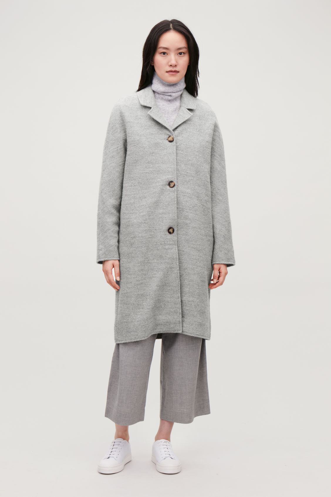 Model front image of Cos single-breasted jersey car coat in grey