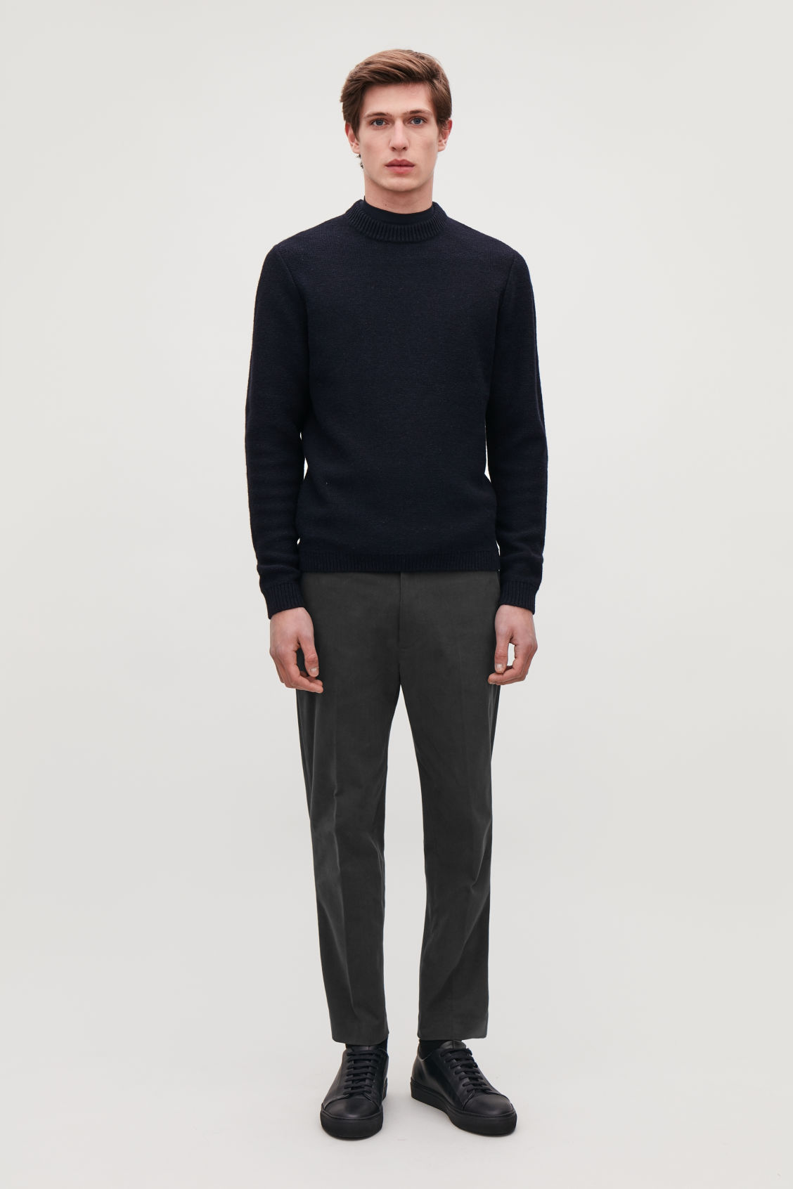 Model side image of Cos slim-fit moleskin trousers in grey