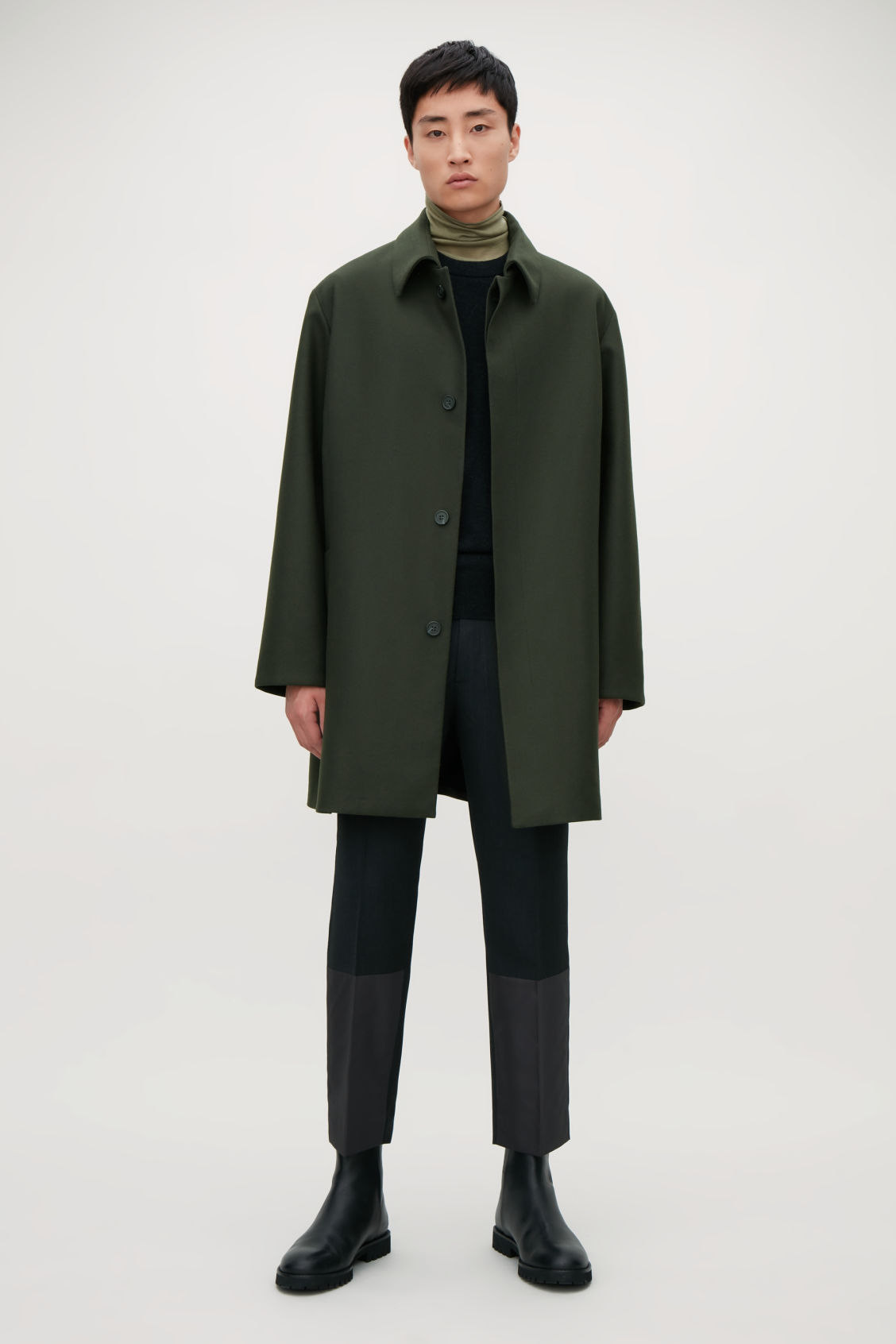 Model front image of Cos single-breasted wool mac in green