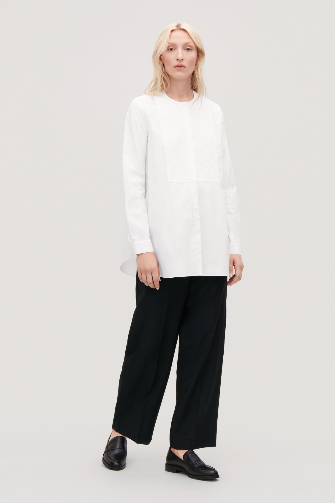 Model front image of Cos quilted bib-front shirt in white