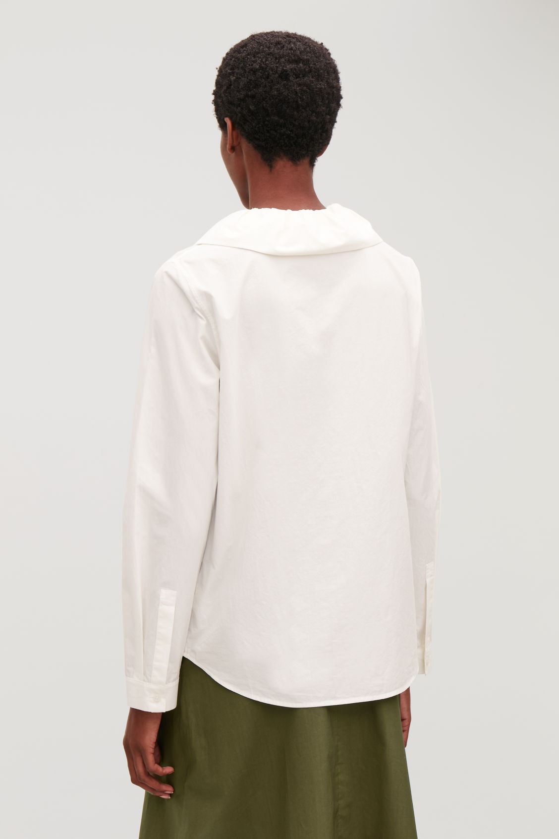 Model side image of Cos gathered-collar cotton shirt in neutral