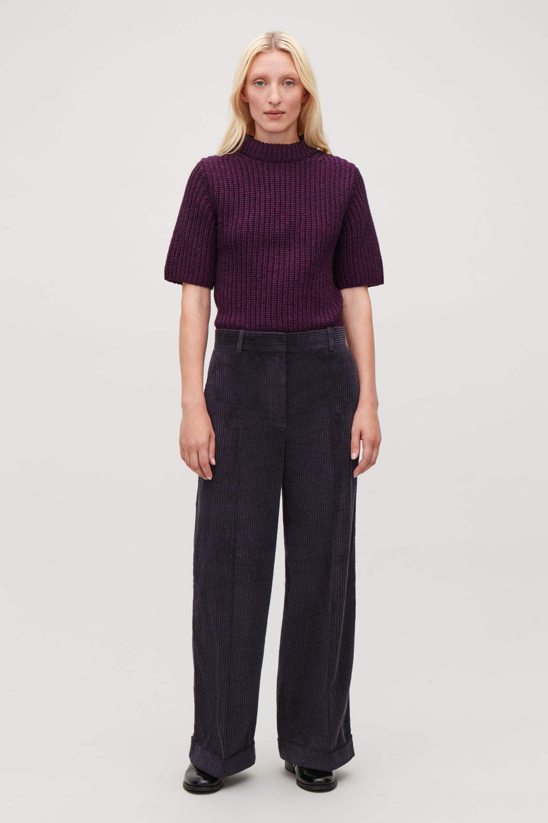 Model front image of Cos relaxed turn-up corduroy trousers  in purple